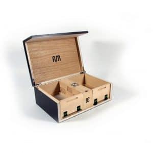 קופסת אחסון ויישון מעץ אלון עם מד טמפרטורה