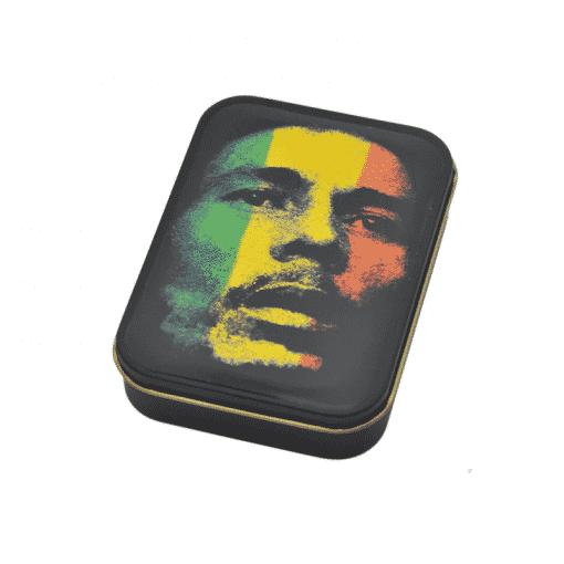 קופסאת אחסון ממתכת - בוב מארלי | Metal Box Bob Marly על דגל ג'מייקה